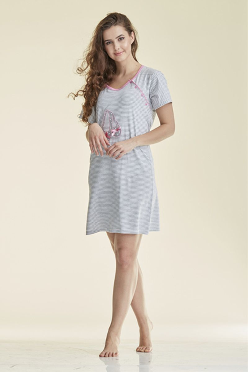 Сорочка для беременных и кормящих 08370 серо-белый