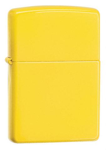 Зажигалка Zippo с покрытием Lemon, латунь/сталь, жёлтая, матовая, 36x12x56 мм