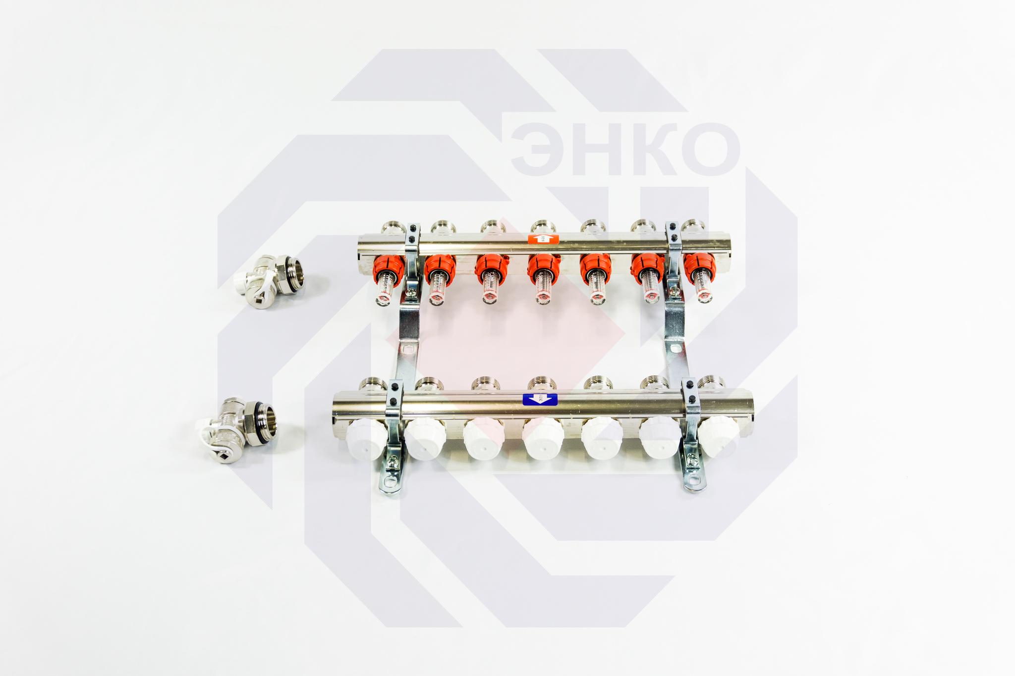 Комплект коллекторов с расходомерами ITAP 916C 7 контуров