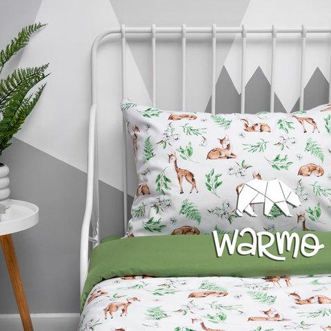 постіль дитяча з оленями на зеленому фото