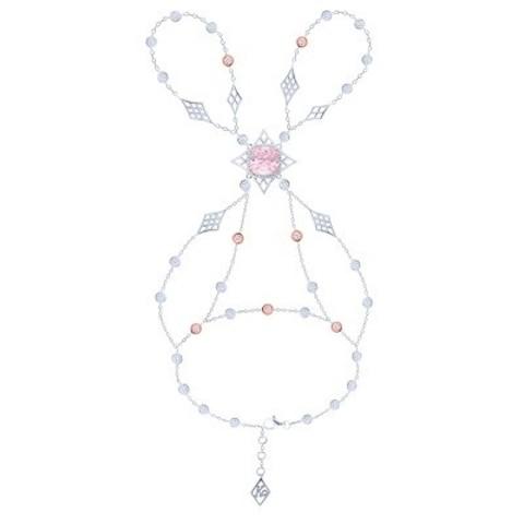 4826  - Слейв-браслет Жади из серебра с розовыми цирконами