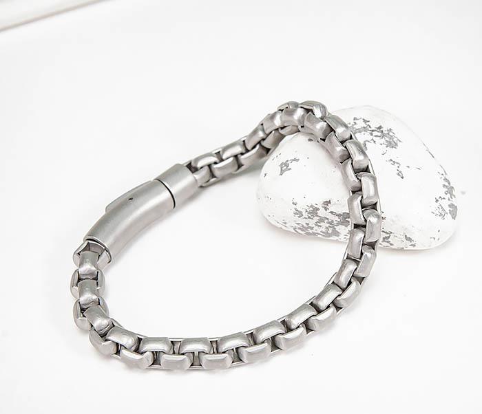 BM579-2 Серебристый браслет из стали с матовым покрытием (21,5 см)