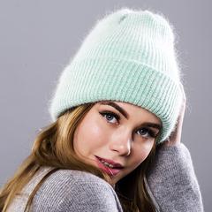 Вязаная женская шапка - колпак с отворотом, ангора (мятная)