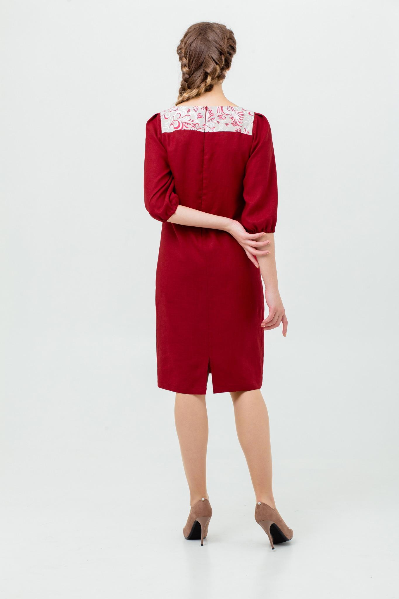 Льняное платье славянское Сладкая брусника