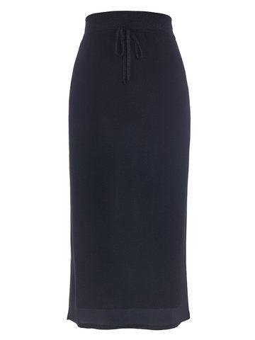 Женская двухслойная юбка-карандаш с люрексом черного цвета - фото 1