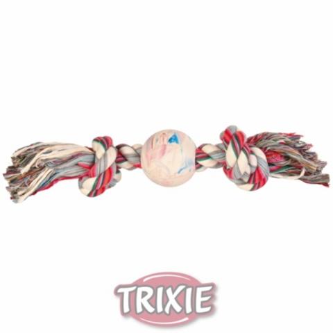 """Trixiе 3267 Игрушка д/собак """"веревка с 2-мя узлами и мячом"""", натуральная резина 36см*ф7,5см"""
