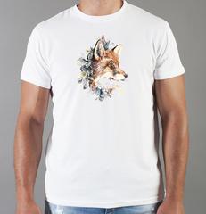 Футболка с принтом Лиса (Лисенок, fox) белая 030