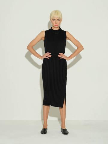 Женская юбка черного цвета из шелка и кашемира - фото 3