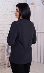 Ольга. Стильна комбінована блуза. Чорний