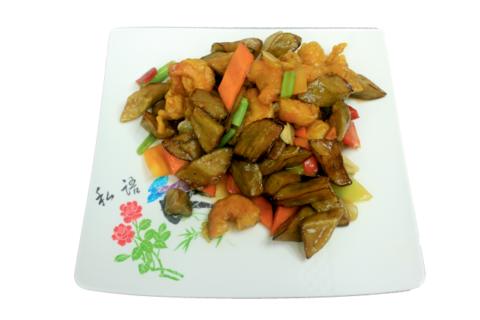 Баклажаны с креветками虾仁炒茄子 400гр