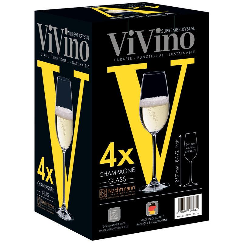 Подарочный Набор бокалов для шампанского 4шт, 260мл, VIvino, Nachtmann