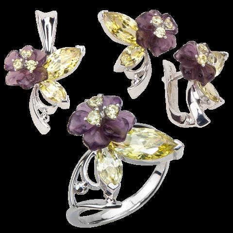 Комплект украшений с цветами из фиолетового кварца и фианитами № 133