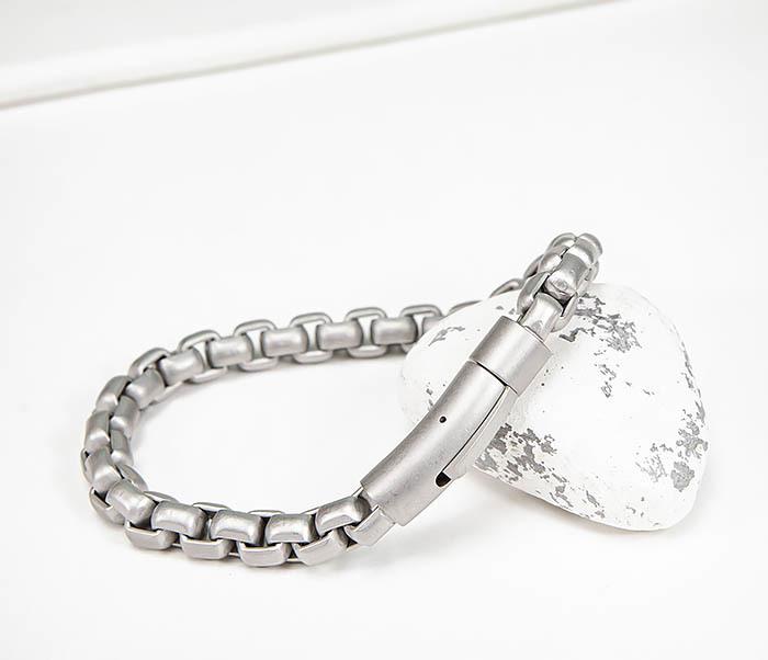 BM579-2 Серебристый браслет из стали с матовым покрытием (21,5 см) фото 04