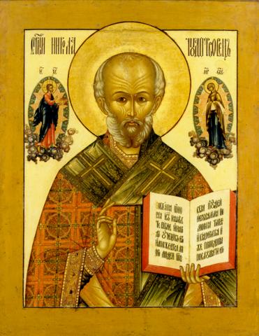 Икона святого Николая Чудотворца на дереве на левкасе