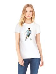 Футболка с принтом Лионель Месси (Lionel Messi) белая w004