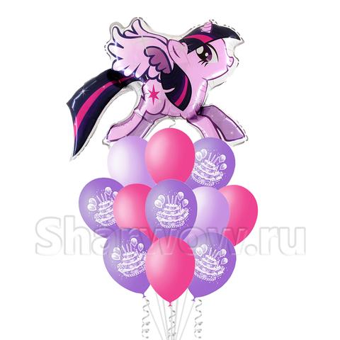 Букет воздушных шаров на день рождения девочки с Пони искоркой