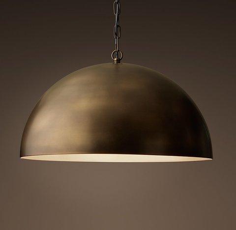 Подвесной светильник копия Antiqued Metal Dome Pendant by Restoration Hardware