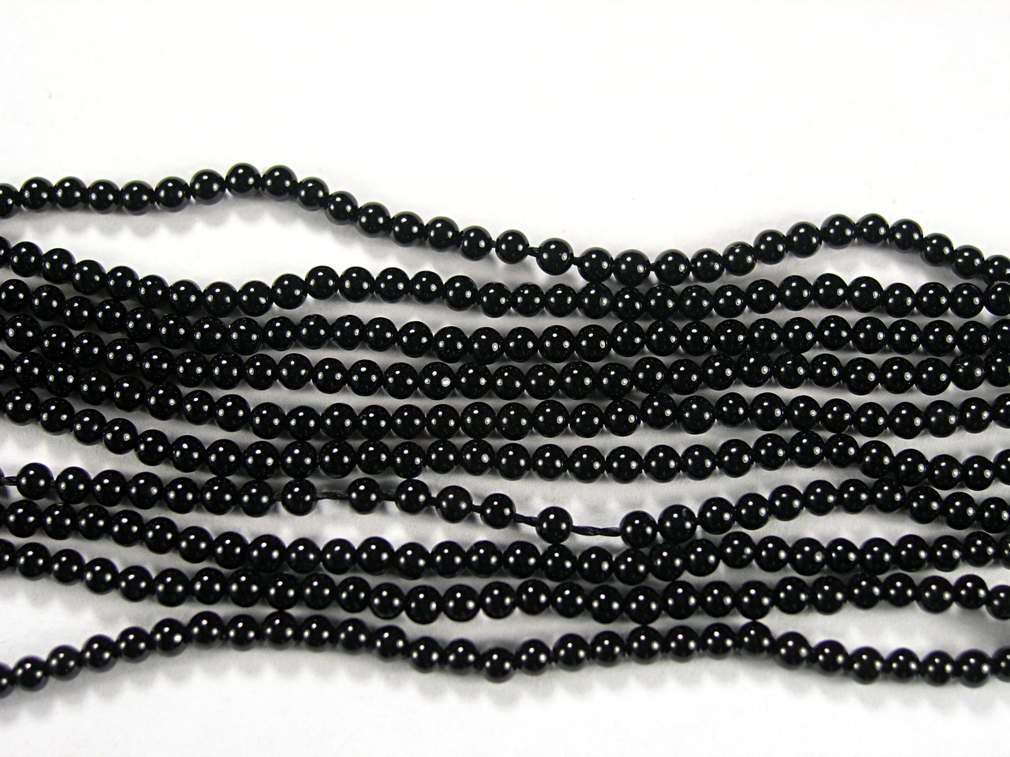 Нить Бисера из агата черного, шар гладкий 2мм
