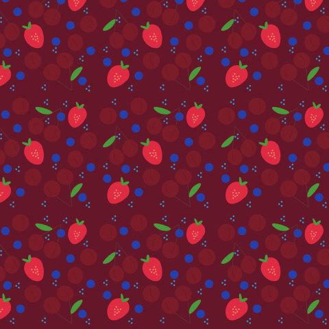 The berries in the jam. Cherries, strawberries, blueberries. Summer seamless pattern