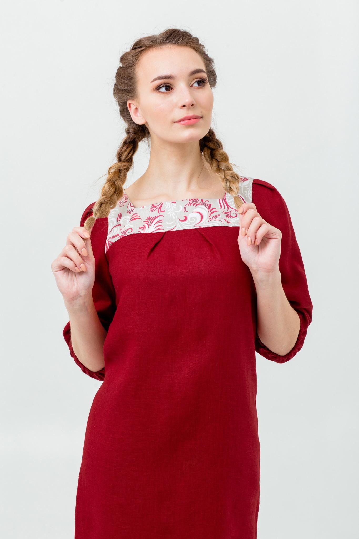 Льняное платье народное Сладкая брусника