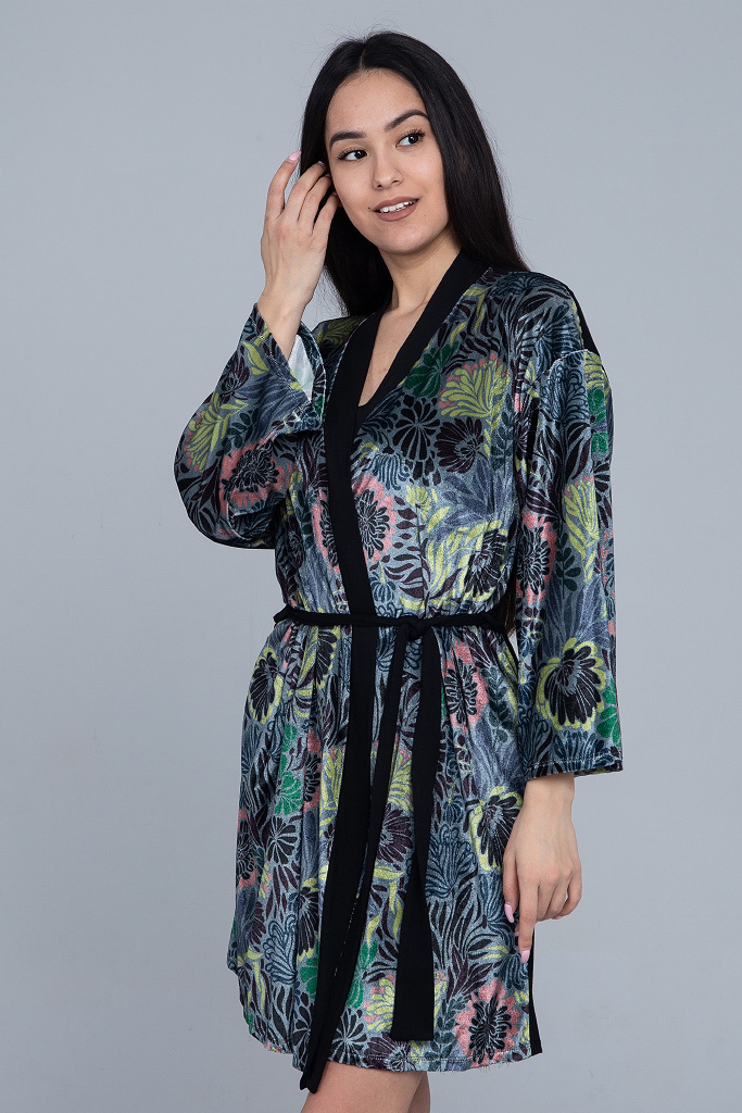 Велюровое кимоно с рисунком Le Chat