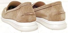 Замшевые туфли лоферы женские бежевые Anna Lucci 2706-040 S Beige.