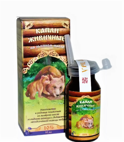 Капли живичные для носа на подсолнечном масле, 10 мл Медведь