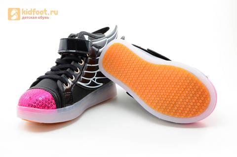 Светящиеся кроссовки с крыльями с USB зарядкой Бебексия (BEIBEIXIA), цвет черный розовый, светится вся подошва. Изображение 14 из 20.