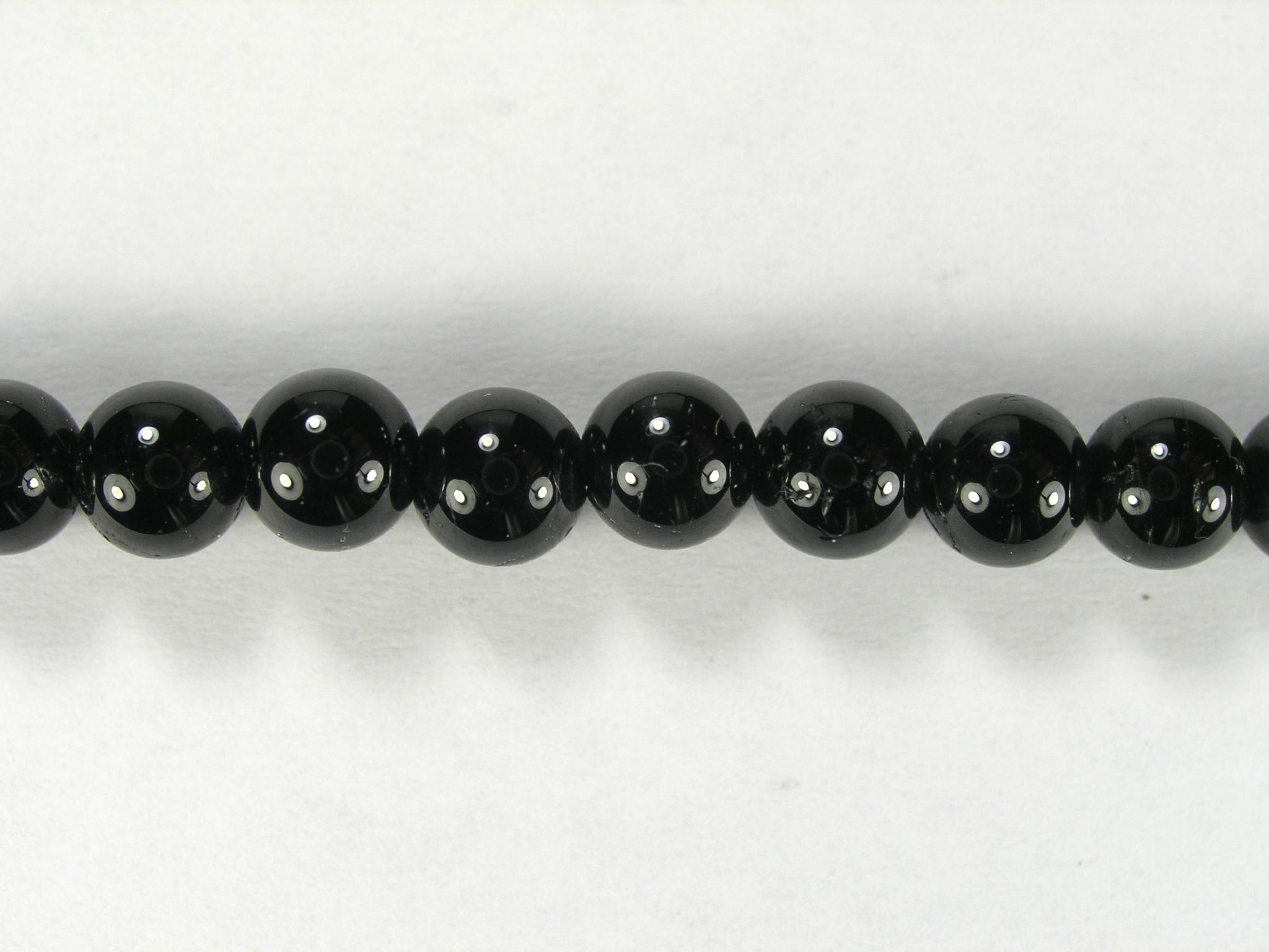 Бусина из турмалина черного, шар гладкий 6мм