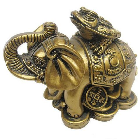Слон  с жабой полистоун