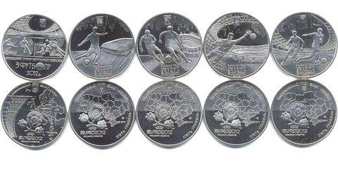 Набор на тему футбол EURO 2012 5 монет номиналом 5 гривен