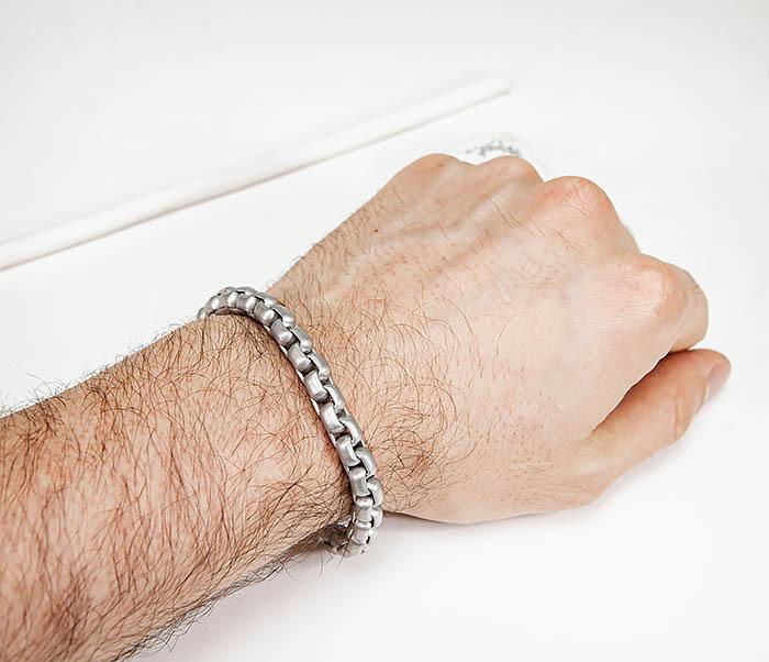 BM579-2 Серебристый браслет из стали с матовым покрытием (21,5 см) фото 06