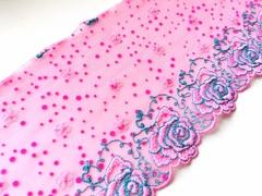 Вышивка на сетке, 16 см, ярко-розовый и бирюза, левая сторона, (Артикул: VS-1002), м
