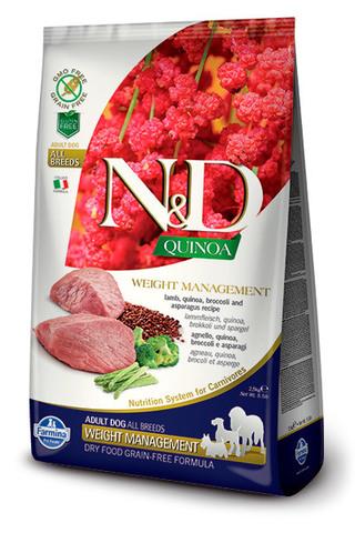 7 кг. FARMINA N&D Quinoa Сухой корм для взрослых собак с ягненком, киноа, брокколи и спаржой Adult Dog Weight Management Lamb