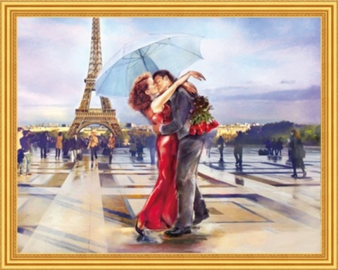 Алмазная Мозаика 40x50 Поцелуй влюбленных в Париже (арт. MGL8007 )