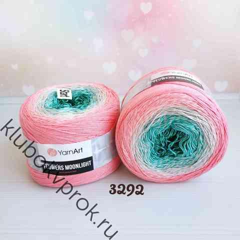 YARNART FLOWERS MOONLIGHT 3292, Зеленый/лазурный/розовый