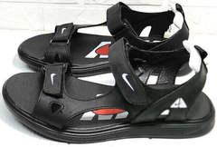 Кожаные босоножки мужские сандалии в спортивном стиле Nike 40-3 Leather Black.