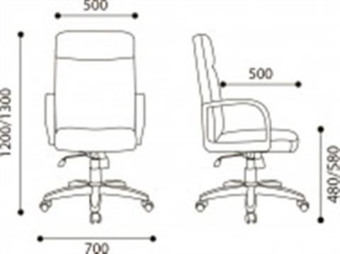 Кресло руководителя Атлант стандарт кожа (черная)*