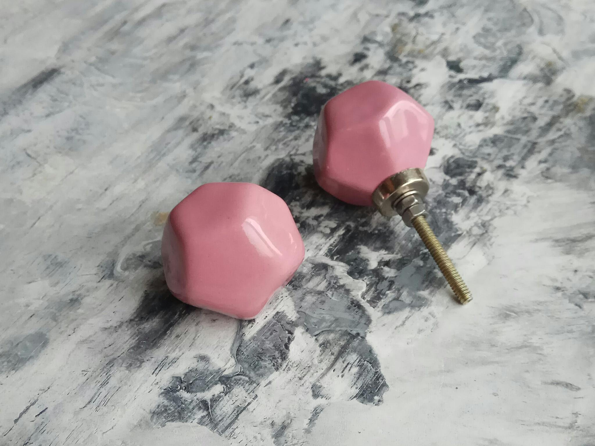 Ручка мебельная керамическая полигональная  - розовый , арт.00001005