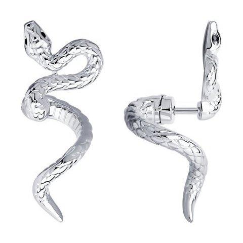 94024139 - Серьги Змеи из серебра с фианитами