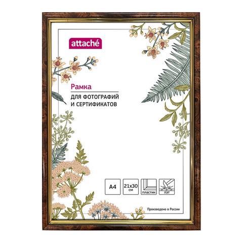 Рамка пластиковая Attache 21x30 (A4) ПЭТ  582 Темный орех с золотом