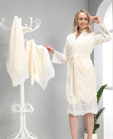 НАБОР Халат женский с полотенцами и тапочками 3875 кремовый NUSA Турция