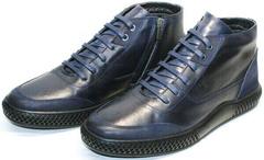 Низкие ботинки на шнуровке осень зима мужские Luciano Bellini BC2802 L Blue.