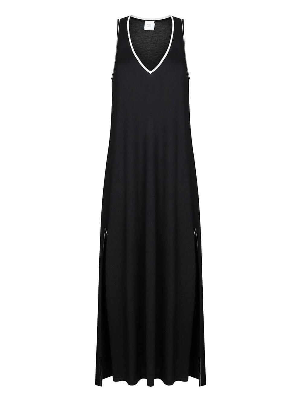 Женское платье черного цвета из шерсти и шелка - фото 1