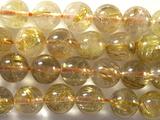 Нить бусин из кварца рутилового золотого, шар гладкий 9 мм