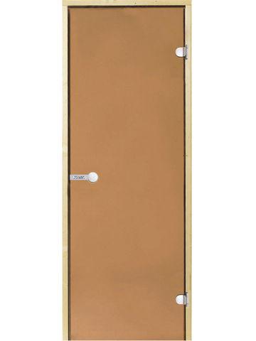 Дверь стеклянная Harvia 8х19, коробка сосна, стекло бронза, артикул D81901M