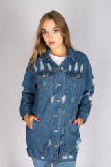 удлиненная джинсовая куртка синего цвета купить