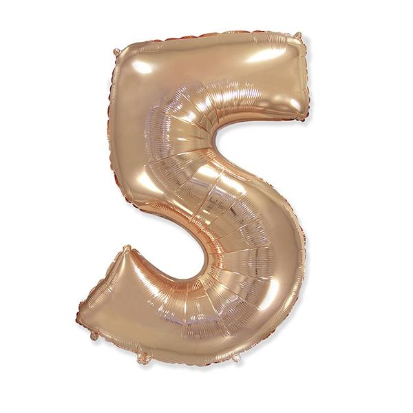 Фольгированная цифра 5, розовое золото