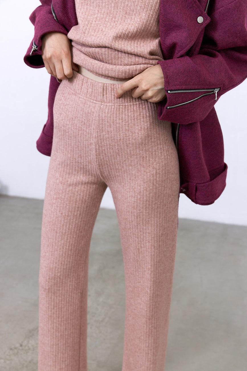 Брюки лапша (трикотаж), пудрово-розовый