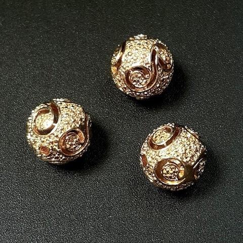 Бусина резная 11 мм цвет золото
